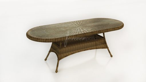"""Rockport 84"""" Oval K/D Dining Table with Glass Top"""
